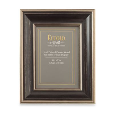 Eccolo™ Antiqued 5-Inch x 7-Inch Photo Frame with Silver Leaf in Black
