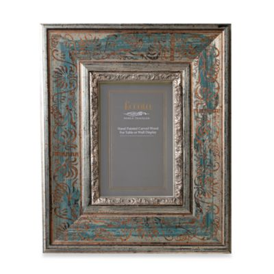 Eccolo® Antiqued Silver-Blue 5-Inch x 7-Inch Photo Frame with Scroll Pattern