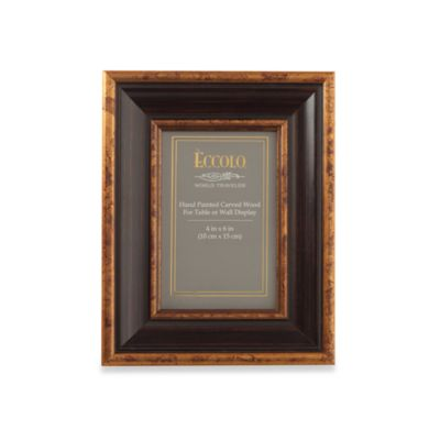 Eccolo® Antiqued Black 4-Inch x 6-Inch Photo Frame with Copper Leaf