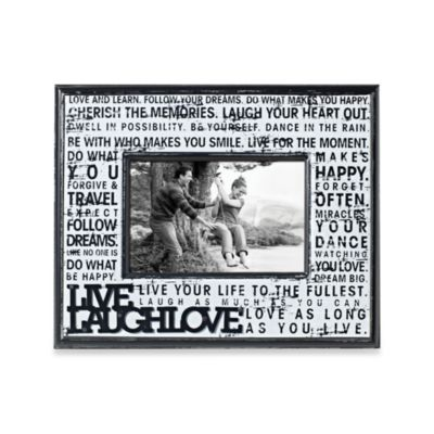 "Distressed Metal with Wood 4-Inch x 6-Inch ""Live. Laugh. Love."" Word Picture Frame"