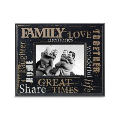 Distressed Metal with Wood 4-Inch x 6-Inch Family Word Picture Frame