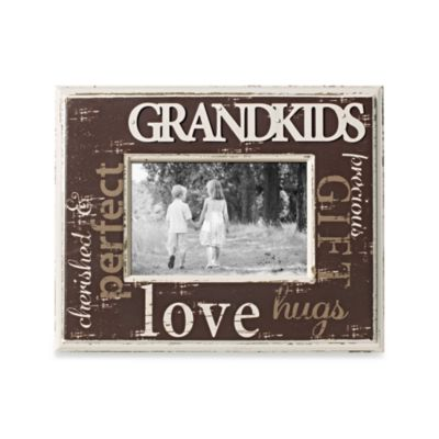 Distressed Metal with Wood 4-Inch x 6-Inch Grandkids Word Picture Frame