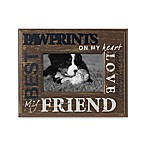 Distressed Metal with Wood 4-Inch x 6-Inch Pawprints Word Picture Frame