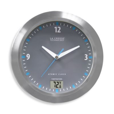 La Crosse Technology® Atomic Analog Bathroom Clock with Digital Temperature Display