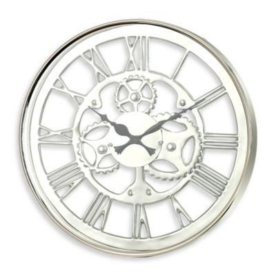 "Zodax Regatta 23 1/2"" Polished Nickel Wall Clock"