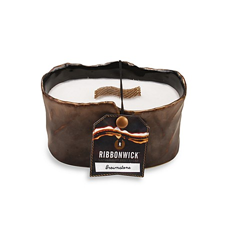 RibbonWick™ Brownstone Glowing Embers Scented Small Oval Candle
