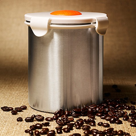 BeanSafe Coffee Canister in Stainless Steel/White