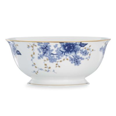Blue Gold Serving Bowl