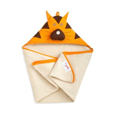 3 Sprouts Hooded Towel in Orange Tiger