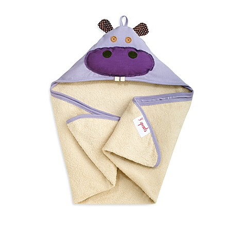 3 Sprouts Hooded Towel in Purple Hippo