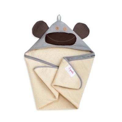 3 Sprouts Hooded Towel in Grey Monkey