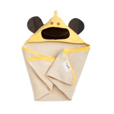 3 Sprouts Hooded Towel in Yellow Monkey