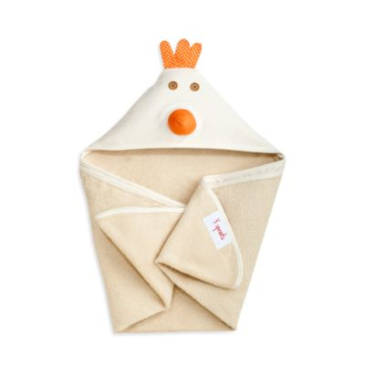 3 Sprouts Hooded Towel in Cream Chicken