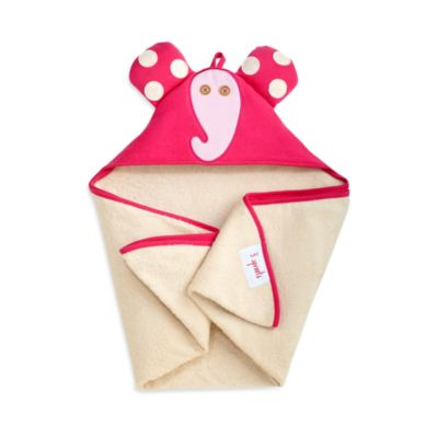 3 Sprouts Hooded Towel in Pink Elephant