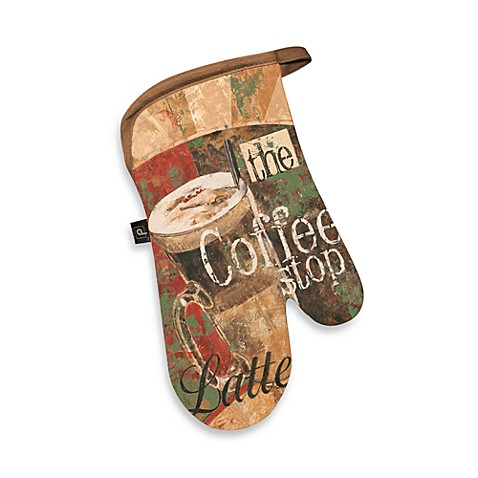 Coffee Shop Canvas Printed Oven Mitt