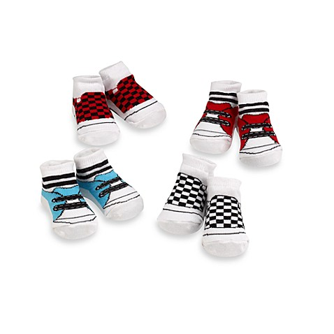 Cutie Pie Size 0 to 12 Months Boys 4-Piece Blue Wild Sock Box Set