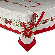 Poinsettia Flowers Tablecloth and Napkins
