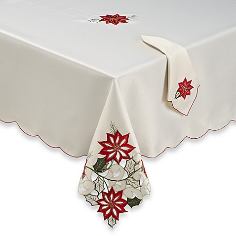Poinsettia path 52 inch x 52 inch tablecloth bed bath for Tablecloth 52 x 120