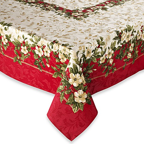 Buy joyous holiday 52 x 52 tablecloth from bed bath beyond for Tablecloth 52 x 120