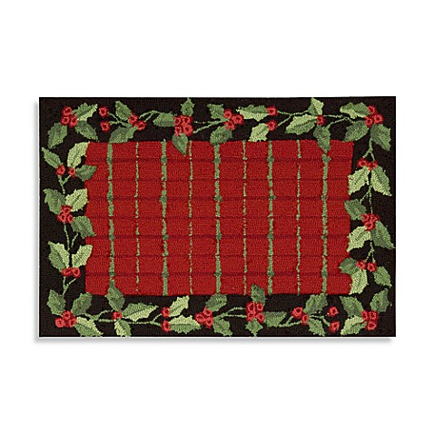 Christmas Plaid Border Rug