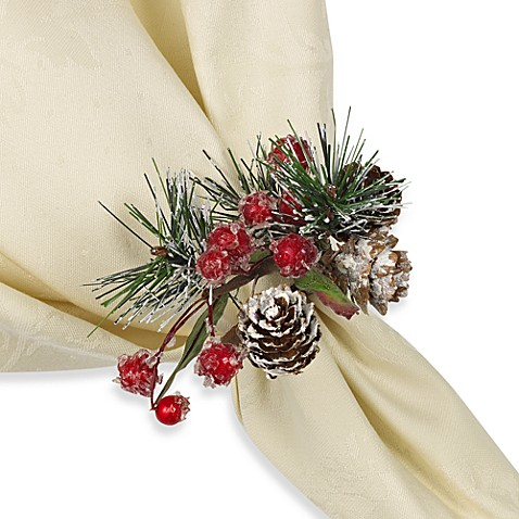 Forest Snow Bouquet Holiday Napkin Rings - Set of Four