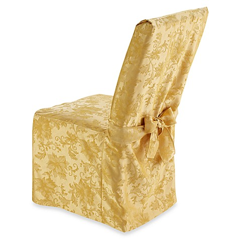 Holiday Joy Dining Room Chair Cover In Gold Bed Bath Beyond