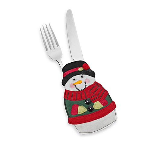 Embroidered Snowman Utensil Holder