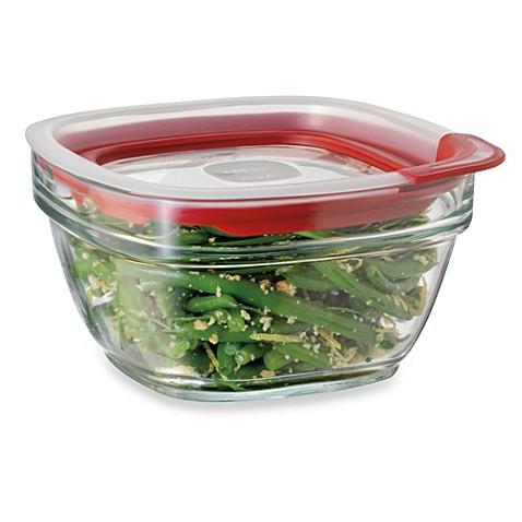 Buy rubbermaid 4 cup square glass food storage containers for Bathroom containers with lids