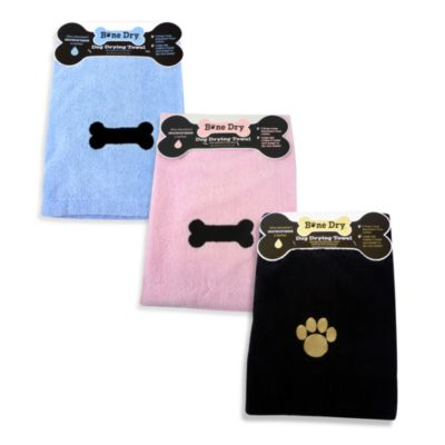 Bone Dry™ Microfiber Dog Drying Towel in Black with Paw Embroidery