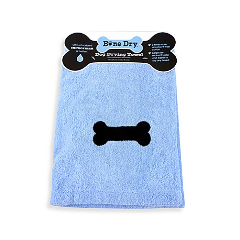 Bone Dry™ Microfiber Dog Drying Towel in Blue with Bone Embroidery