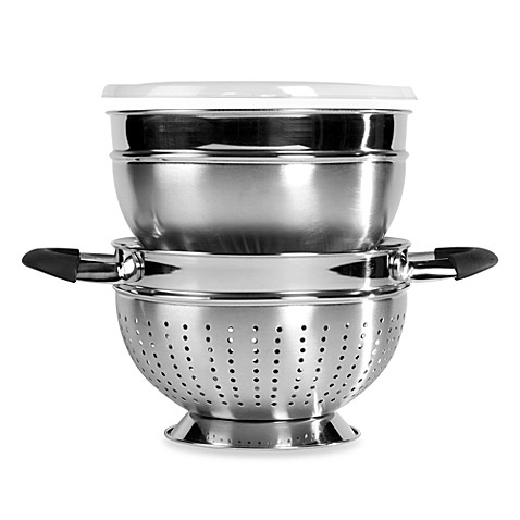 Stax Living 3-Piece 3-Quart Stainless Steel Bowl/Colander Set