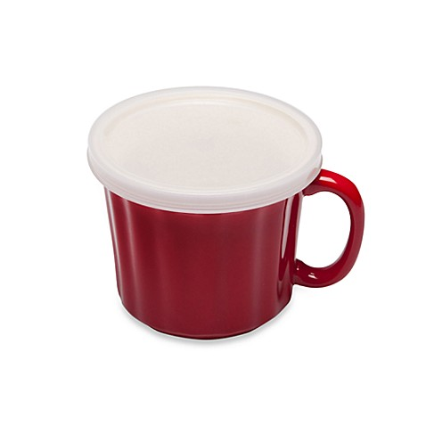 18-Ounce Soup Mug with Plastic Lid in Red