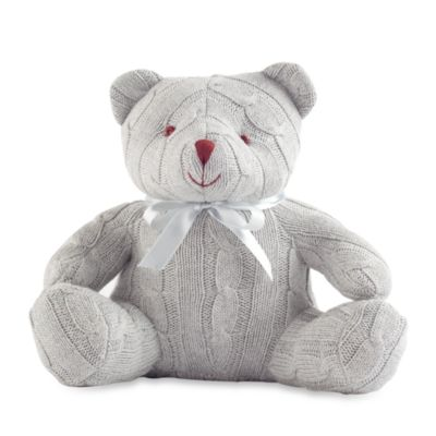 Basic Layette > Elegant Baby® Cable Knit Teddy Bear - Grey
