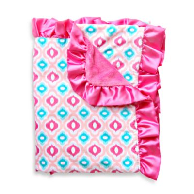 Caden Lane® Ikat Mod Pink Ruffle Blanket