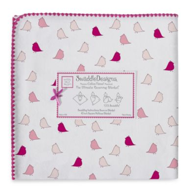 Swaddle Designs® Little Chickies Flannel Swaddling Blanket in Berry