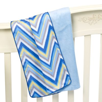 Caden Lane® Ikat Chevron Blue Piped Blanket