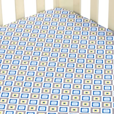 Caden Lane® Ikat Diamond Crib Sheet in Blue