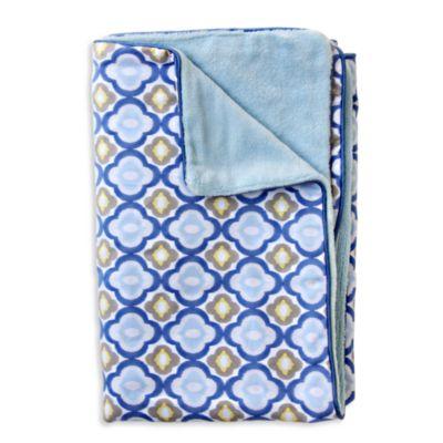 Caden Lane® Ikat Mod Blue Piped Blanket