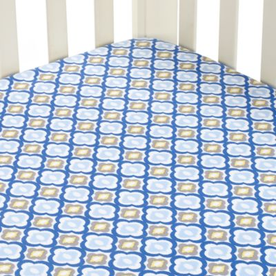 Caden Lane® Ikat Mod Crib Sheet in Blue