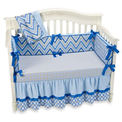 Caden Lane® Ikat Diamond Blue Crib Sheet