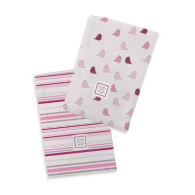 Swaddle Designs® Baby Burpie® Very Berry Stripes & Pink Little Chickies (Set of 2)