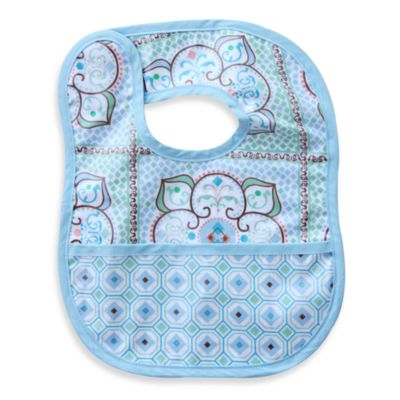Caden Lane® Large Moroccan Print/Octagon Reversible Coated Bib in Blue