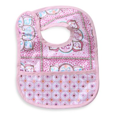 Caden Lane® Large Moroccan Print/Octagon Reversible Coated Bib in Pink