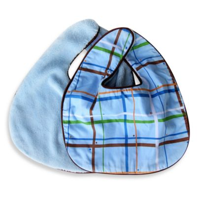 Caden Lane® Bib 2-Pack in Blue Solid & Blue Plaid