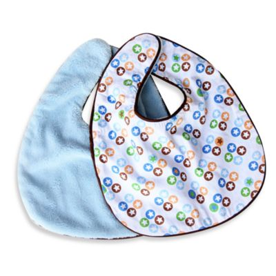 Caden Lane® Boutique Star Dot 2-Pack Bib Set in Blue