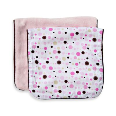 Caden Lane Burp Cloths 2-Pack - Classic Pink Dot Line