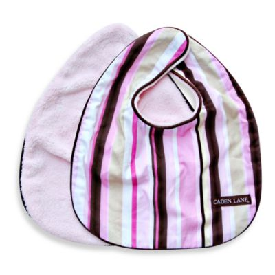 Caden Lane® Classic Stripe 2-Pack Bib Set in Pink
