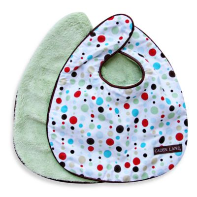 Caden Lane® Classic Dot Line 2-Pack Bib Set in Red