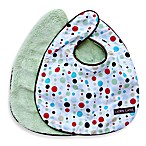 Caden Lane® Bib 2-Pack in Green Solid & Red Lined Dots