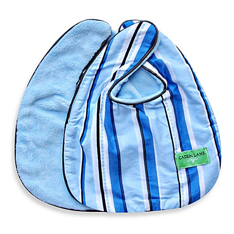 Caden Lane® Luxe Pinstripe 2-Pack Bib Set in Blue